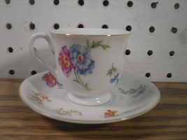 Small Teacup and Saucer Set of 6 Chikaramachi Japan Pink and Blue Flower... - $19.25