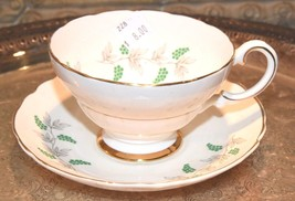 Vintage 1920's- 40's Crown Staffordshire Grapes Cup & Saucer Set Green Grapes - $29.99