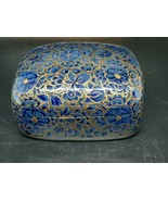 Hand painted decorative box made in Kashmir excellent condition blue & gold - $15.00