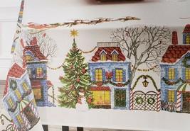 "Printed Linen Tablecloth 52""x 70"" (4-6 ppl) Oblong, WINTER,CHRISTMAS VIL... - $21.77"
