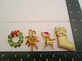 Vintage Christmas Pin Brooch Lot Gold-tone some w/enamel trim. Wreath Candycane - $6.99