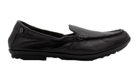 HUSH PUPPIES Aidi Mocc Black Leather Wide Comfort Womens Slip On Size 6.5 - £68.07 GBP