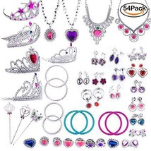 WATINC 54pcs Jewelry Toy Girl's Dress Up Play Set Included Crowns Neckla... - $16.29
