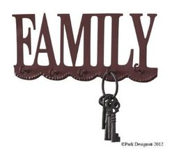 "Park Designs ""Family"" Key Holder, Wall Mounted Hook image 10"