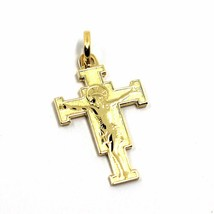 "SOLID 18K YELLOW GOLD FLAT SAINT DAMIANO CROSS PENDANT, MADE IN ITALY, 0.9"" image 1"