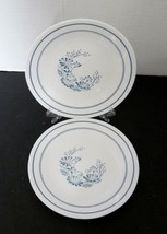 Colonial Mist Corelle by Corning 2 Bread & Butter Plates Blue Flowers Blue Band - $12.75