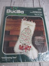 "Vtg Bucilla Candlewicking Beaded Christmas Stocking Kit ""Shimmering Tree"" #82132 - $29.69"