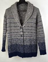 Vince Womens Wool Cardigan Knit Shawl Sweater Gray Blue S - $74.25