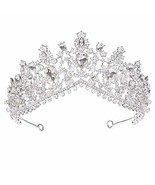 S SNUOY Silver Plated Rhinestone Wedding Tiaras for Brides Crystal Prom Pageant  - $30.56