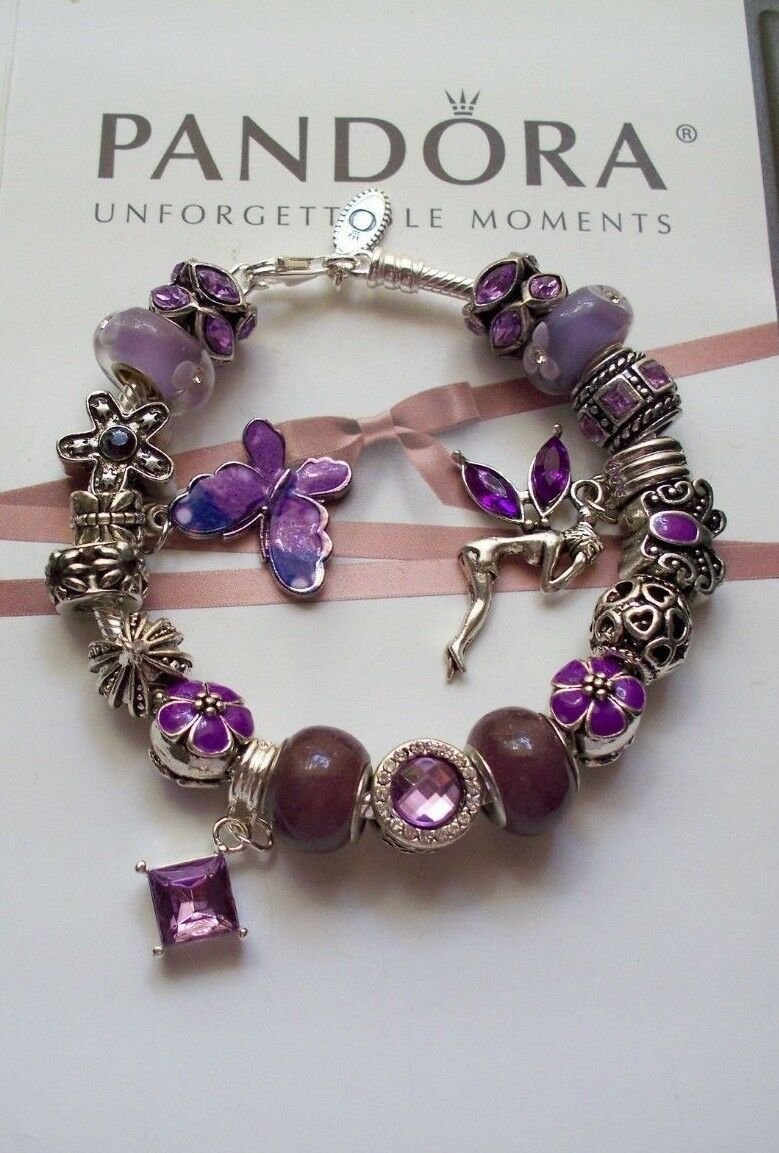Authentic Pandora  Sterling silver Bracelet with European Charms/ Purple ,Light