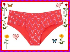 L Red Purple Heart SHINE FOIL NO SHOW Seamless Victorias Secret Cheeky P... - $10.99