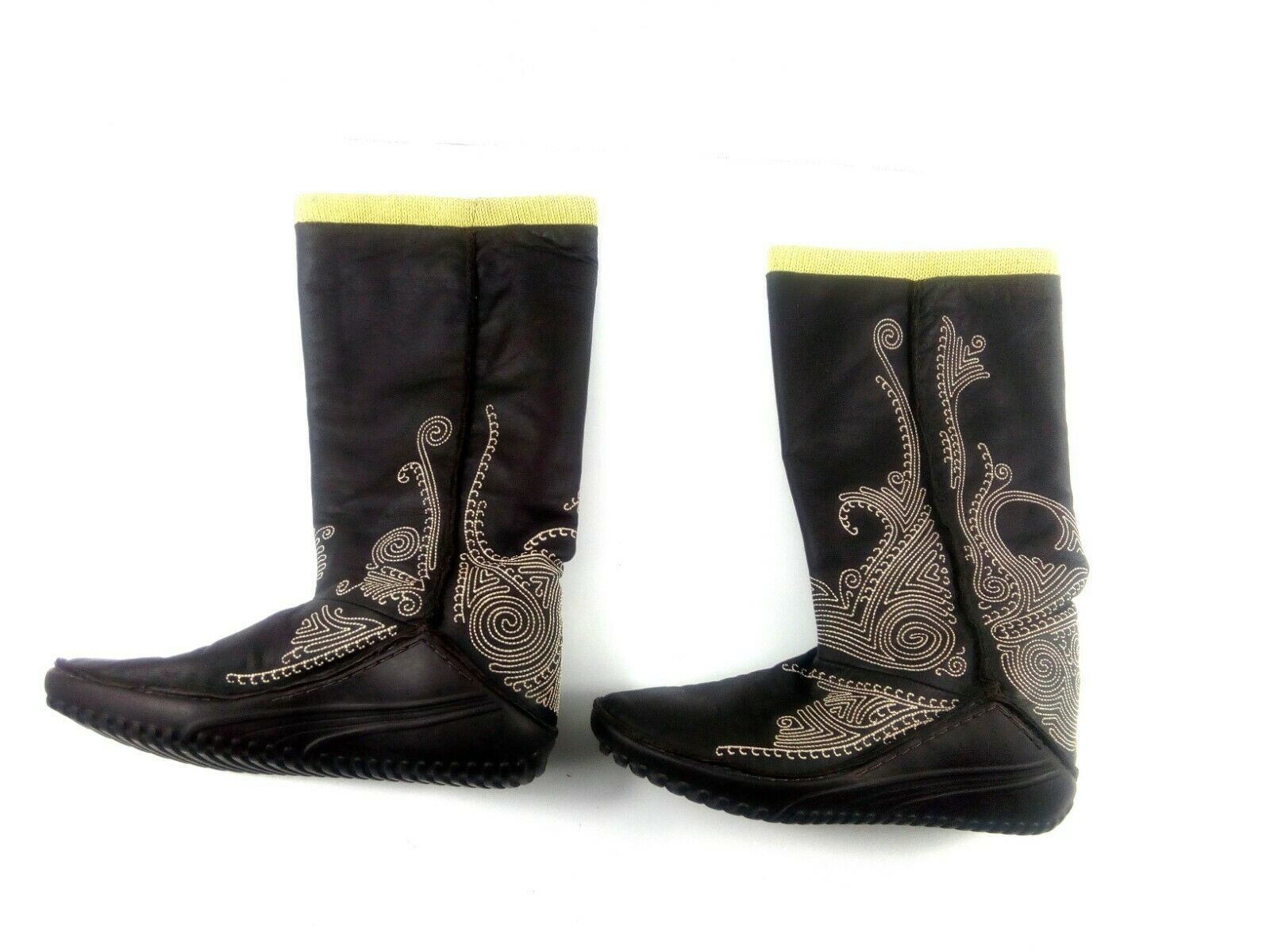Puma Women's Boots Monsoon Tall Leather Embroidered Brown/Green Booties 7.5 W