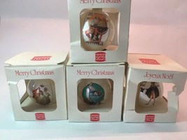 Vintage Burger King Christmas glass ornaments lot of 4 classic theme   - $40.74