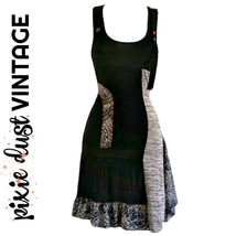 Vintage Dress 90s Grunge Slinky 1990s Unique Black Stretch Mini Grey Siz... - $24.14