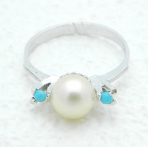 Vintage Faux Pearl Turquoise Bead Dainty Silver Tone Ring Size 6 Signed NT - $19.80