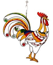 Ebros Gift Large Hanging Rise & Shine Colorful Gem Rooster Stained Glass... - $39.99