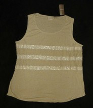 7cd9c54d235d30 Chico's Size 2 Beige New Khaki Lace Sequin Tank Top Shirt Conventional