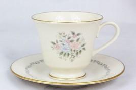 Lenox China Christie Teacup Saucer Set Gold Trim Floral 6 Oz - $24.74