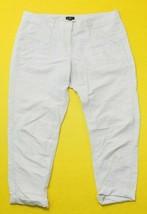 Ann Taylor LOFT 10 White Roll Cuff Ankle Linen Blend Casual Dress Pants ... - $25.52 CAD