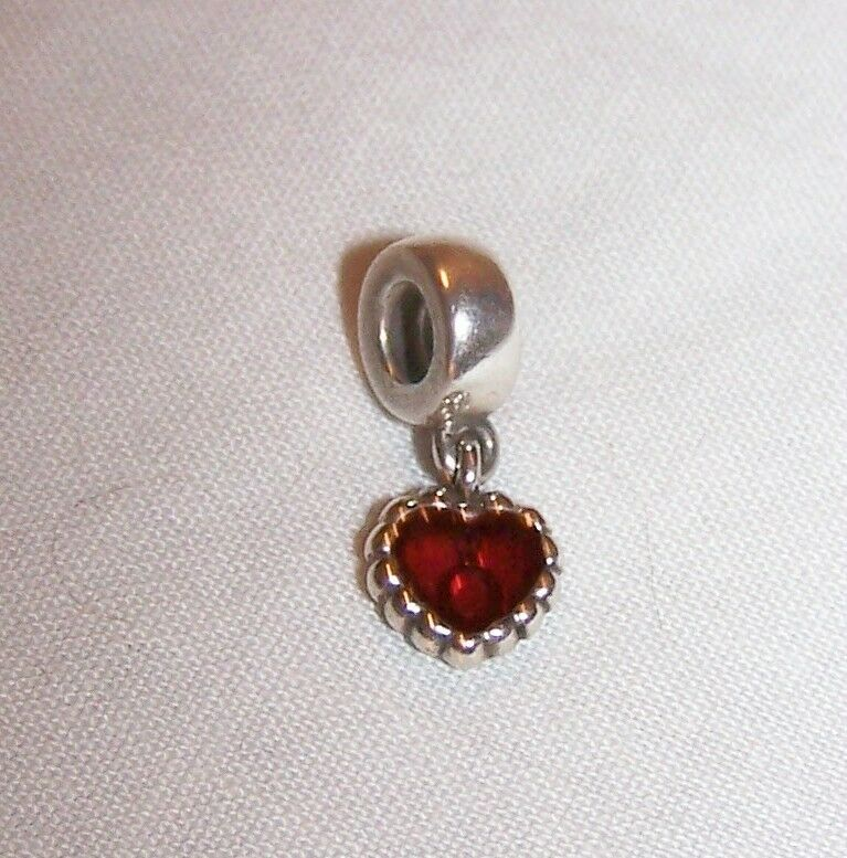 Pandora Sterling Silver Charm w/Red Dangle Heart