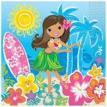 Hula Beach Party 16 Ct Luncheon Napkins Hawaiian Girl Lei Surf Board - £2.15 GBP
