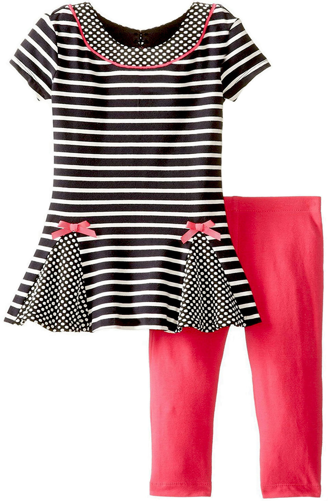 Rare Editions Baby Girl 3M-9M Dots And Stripes Knit Dress/Legging Set