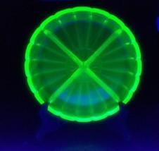 Vintage Green Depression Vaseline/Uranium Glass Divided Dish - $12.86