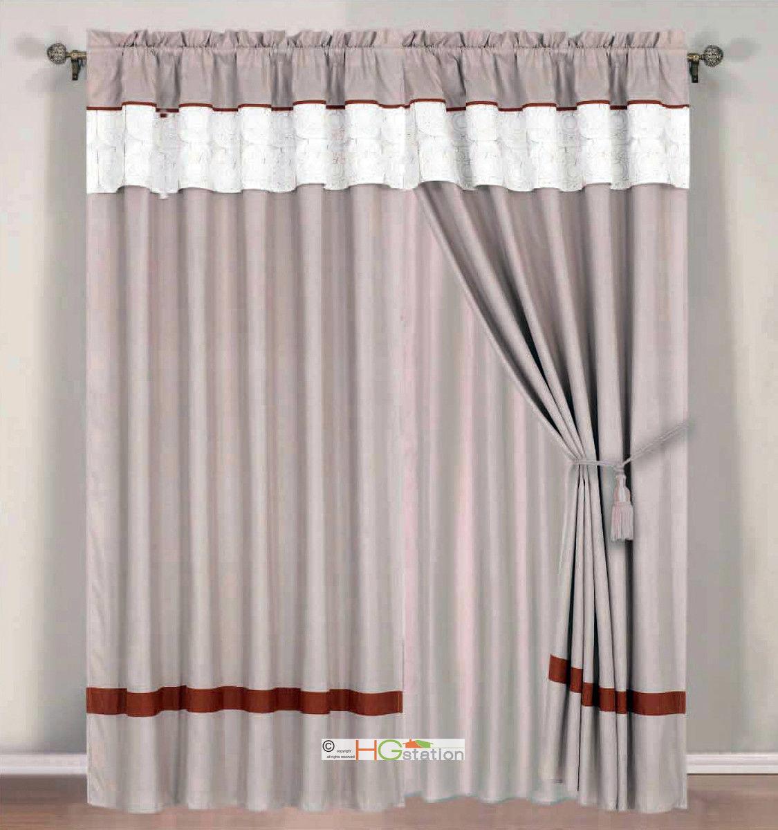 4Pc Quilted Autumn Sun Floral Striped Curtain Set White Khaki Rust Valance Drape - $40.89