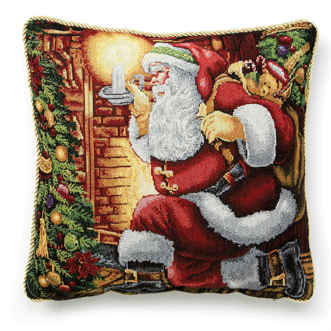 "Primary image for Beautiful Tapestry Santa 18"" Pillow Cover, Needlepoint Look, Gold Trim Roping"