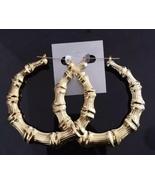 Large Bamboo Joint Hoop Earrings Hip-Hop Golden Ladies Big Circle Hoop S... - $7.99