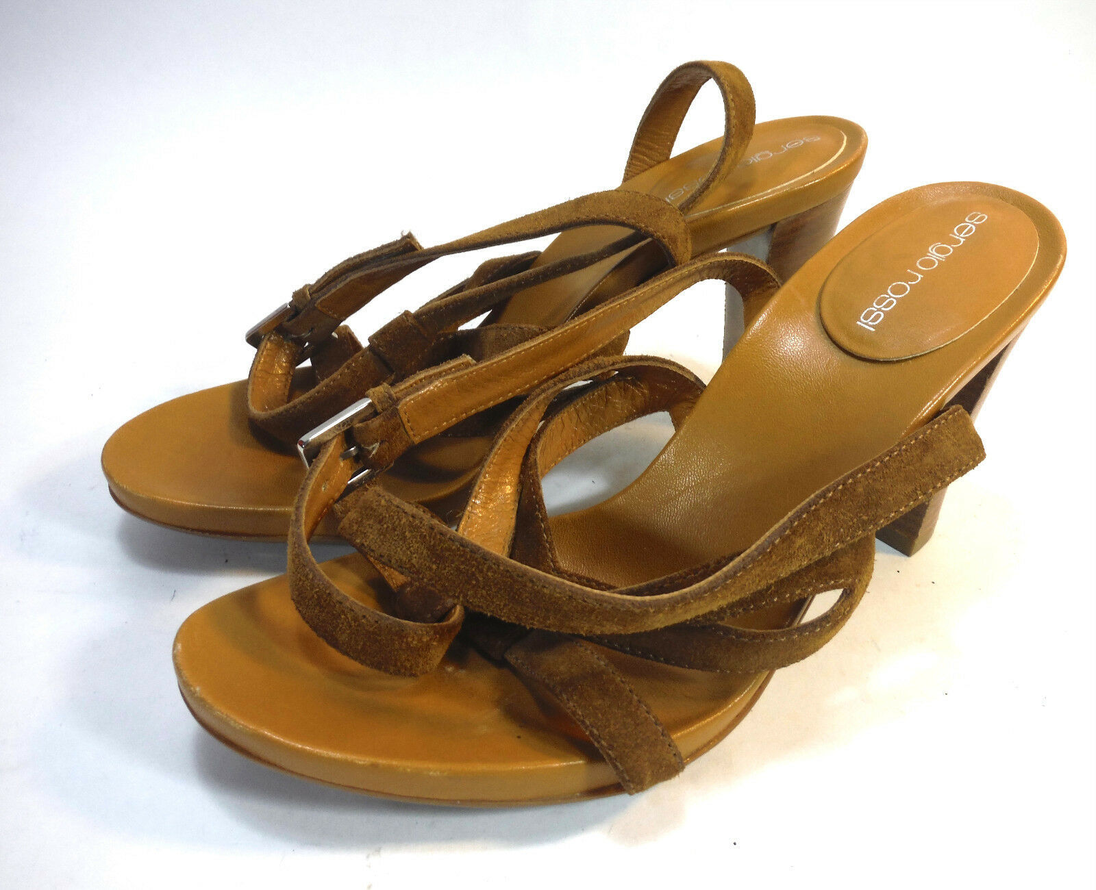 super gorgeous pair of SERGIO ROSSI brown suede strappy tall sandals 8 37.5 image 2
