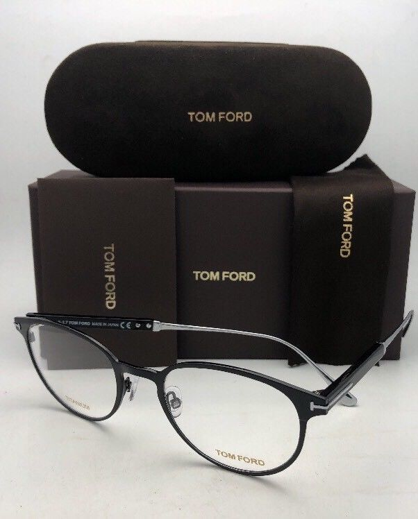 New TOM FORD Classic Eyeglasses TF 5482 001 50-21 Black & Silver Titanium Frames image 12