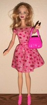 Mattel Twist N'Turn Red Lips Barbie Doll in Pink Floral Outfit with bag ... - $20.79