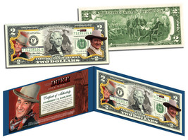 "JOHN WAYNE ""The Duke"" Colorized U.S. $2 Bill Legal Tender *Officially Li... - $13.81"