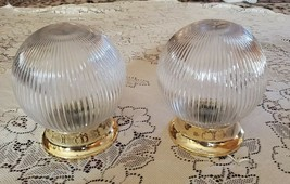 """Lot of 2 Vintage 8"""" Light Fixtures Complete Electrical Globe Clear Ribbe... - $30.69"""