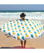 Round Beach Towel Mandala Tapestry Outdoor Picnic Blanket Bohemian Pinea... - $12.86