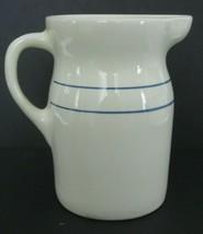 Vintage Pottery Pitcher Crock With Blue Stripes Primitive Country Farmho... - $28.04