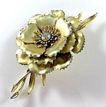 Statement Coro Pin Brooch Signed Flower AB Gold Toned Wedding Bridal Gift Vtg image 9