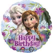 "Disney Frozen Happy Birthday Foil Mylar 18"" Balloon Round with Elsa and Anna - $2.92"