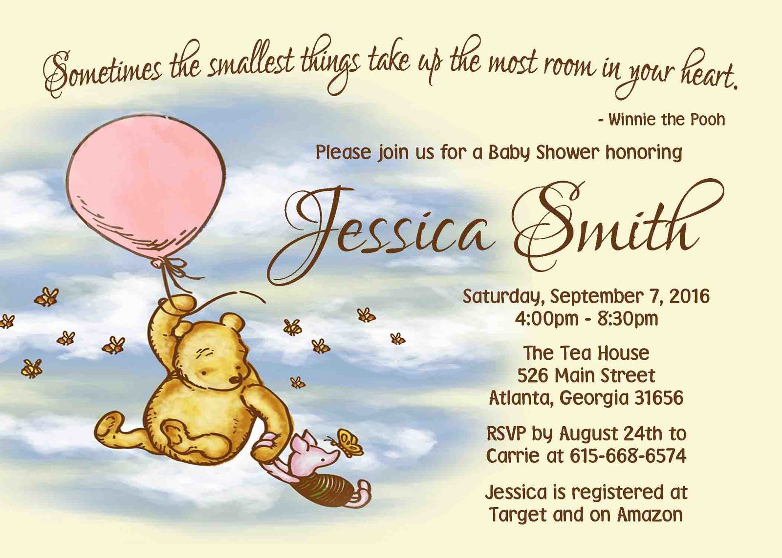 Winnie the Pooh Baby Shower Invitation Baby Girl Baby Shower invitation Pink