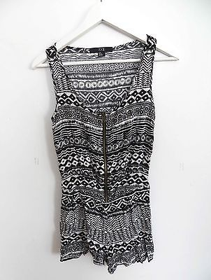 Forever 21 size SMALL black and white tribal grunge ornate print pattern romper
