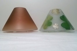 Yankee Candle 2 Glass Shade Toppers GREEN GOLD SHAMROCK OMBRE Frosted Fa... - $43.56