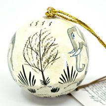 Asha Handicrafts Painted Papier-Mâché Grey Elephant Holiday Christmas Ornament image 3