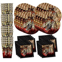 Rock Star Party Supplies Set Plates Napkins Cups Tableware Kit for 16 - £20.67 GBP