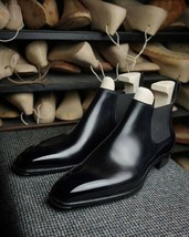 Handmade Men's Black Chelsea Ankle Dress Boots,Real Leather Office Boots - $169.99