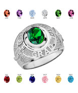 Sterling Silver Graduation Class 2018 CZ Birthstone Ring - $79.99