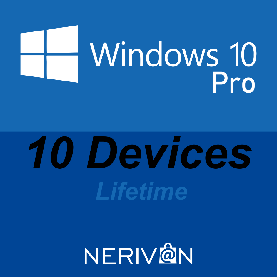 Microsoft Windows 10 Pro / Professional | 10 Devices | Genuine Product Key