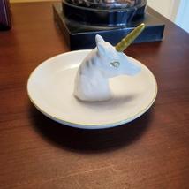 Unicorn Ring Dish, Ceramic Jewelry Holder Trinket Tray with Golden Horn Unicorn image 4