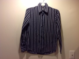 Mens Slim Fit Navy Blue w White Vertical Stripes Button Up by HUGO BOSS Sz S
