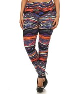 Womens  Soft Colorful Bands Plus Size Leggings - 3X - 5X - $15.83